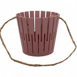Корзина из натурального дерева (100*150*300) с веревочной ручкой (коричневая)