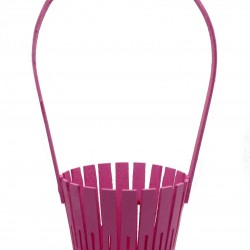 Корзина из натурального дерева (100*150*300) с веревочной ручкой (розовая)
