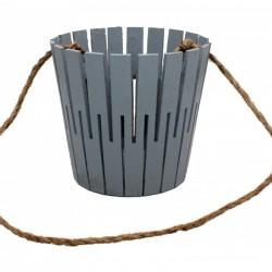 Корзина из натурального дерева (100*150*300) с веревочной ручкой (серая)
