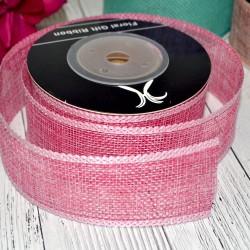 Лента джутовая, 2,5см*10м розовый