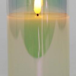 Светодиодная свеча в стакане с мерцающим светом, 7,5х7,5х15 см, 1 шт., перламутровый